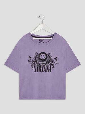 T shirt Nirvana parme femme