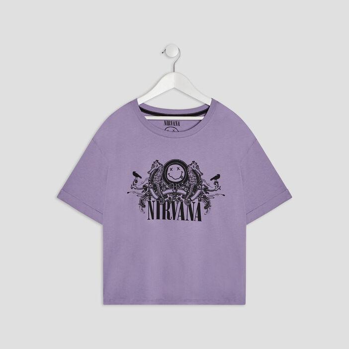 T-shirt Nirvana femme parme