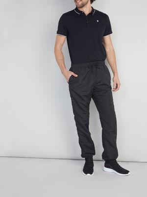 Jogging uni toile enduite noir homme