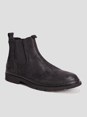 Bottines chelsea en cuir noir homme
