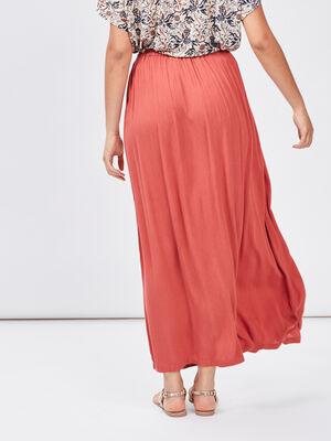 Jupe longue droite fluide rose framboise femme