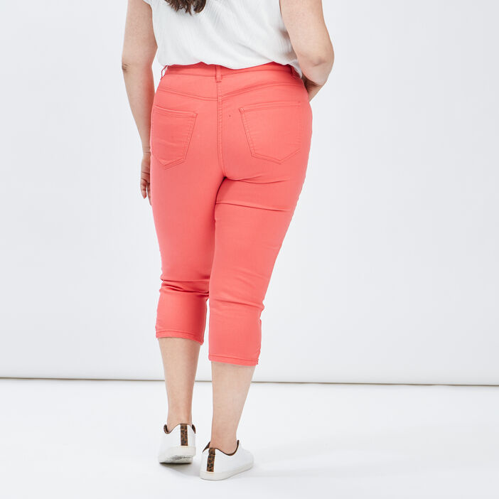 Pantalon corsaire slim femme grande taille orange corail