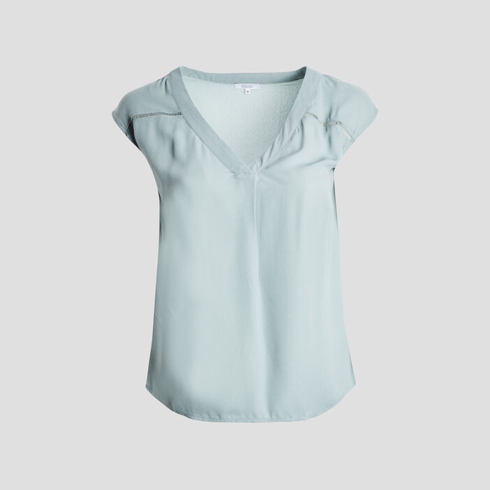 Blouse manches courtes femme grande taille vert turquoise