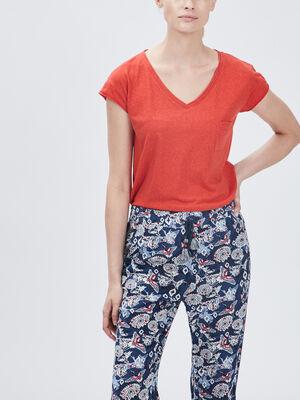 T shirt manches courtes Creeks rouge corail femme