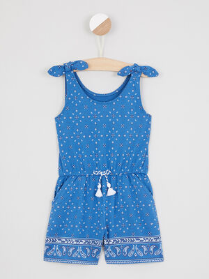 Combinaison short imprimee a bretelles bleu fille