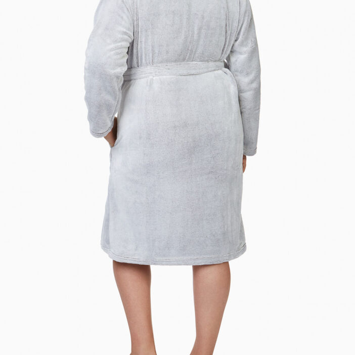 Peignoir pilou col façon mouton femme grande taille taupe