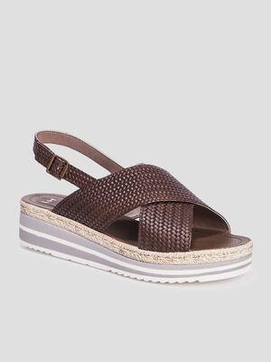 Sandales compensees vert kaki femme
