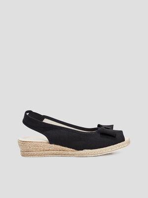 Sandales compensees a noeuds noir femme