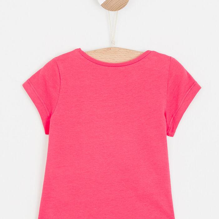 T-shirt uni à message bébé fille rouge