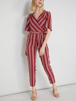 Combinaison pantalon ajustee rayee rose framboise femme