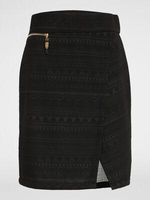 Jupe crayon jacquard effet portefeuille noir femme