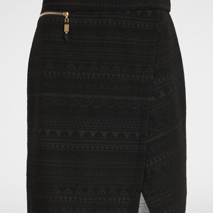 Jupe crayon jacquard effet portefeuille femme noir