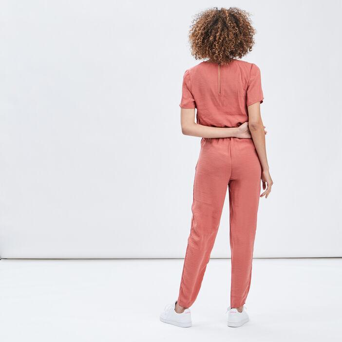 Combinaison pantalon fluide femme terracotta