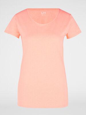 T shirt uni a col rond orange fluo femme
