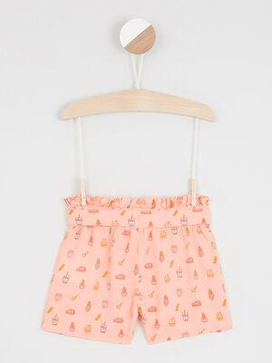 Short taille elastiquee a motifs orange fluo fille