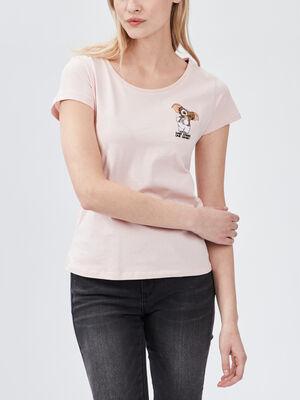 T shirt Gremlins rose poudree femme