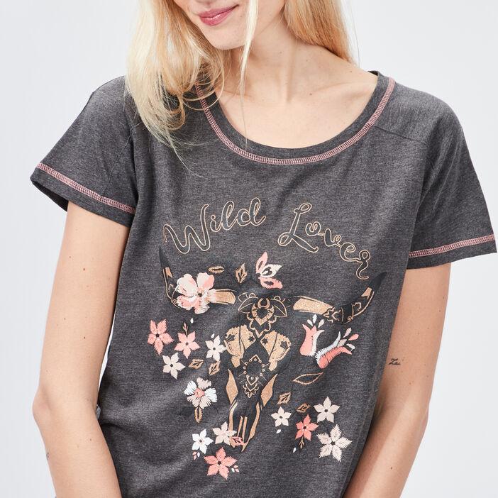 Chemise de nuit femme gris foncé