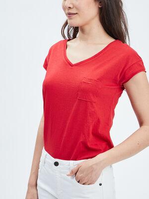 T shirt manches courtes Creeks rouge femme