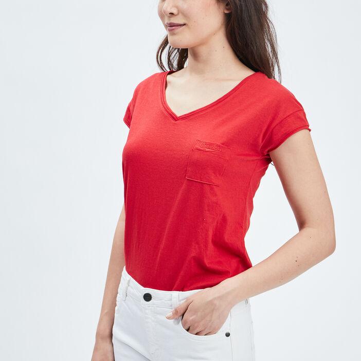 T-shirt manches courtes Creeks femme rouge