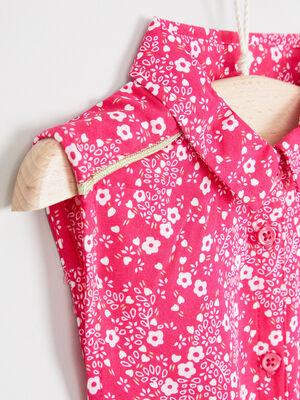 Chemisier imprime noue sans manches rose fushia fille