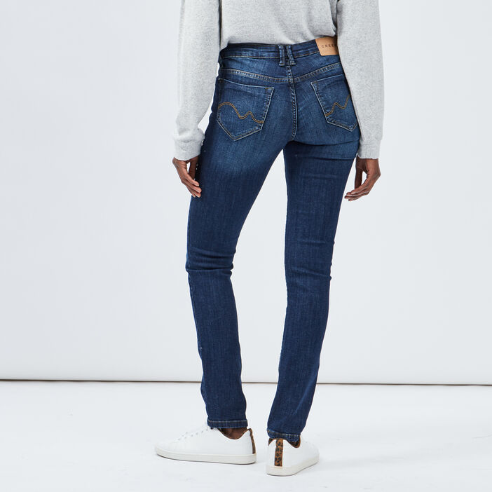 Jeans straight taille basse femme denim brut