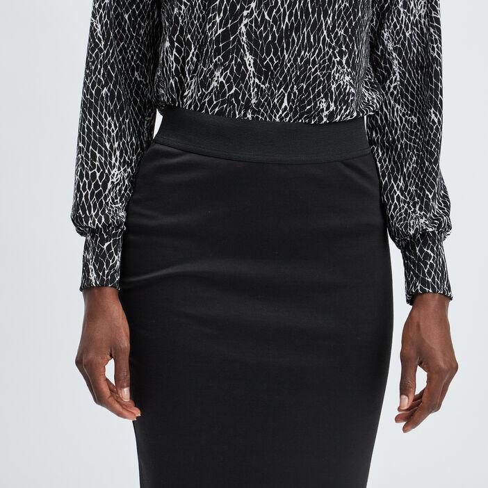 Jupe crayon taille élastiquée femme noir