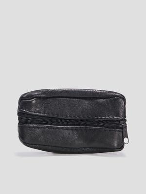 Porte monnaie en cuir noir homme
