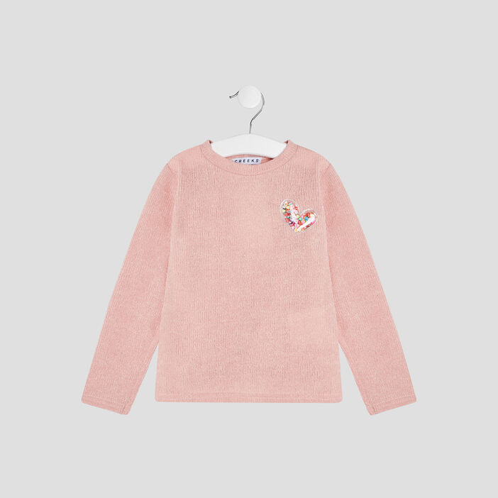 Pull manches longues Creeks fille rose