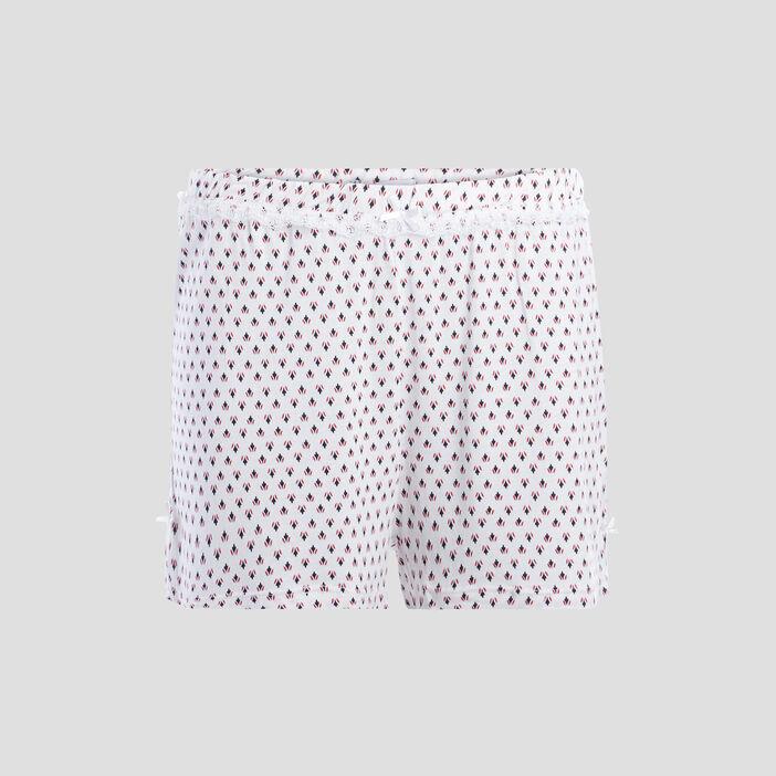 Bas de pyjama short femme blanc