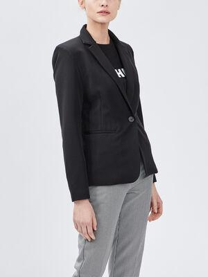 Veste droite boutonnee noir femme