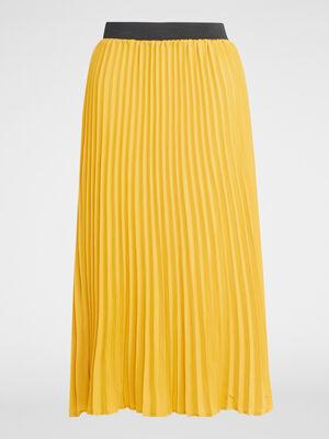 Jupe midi plissee taille elastiquee jaune moutarde femme