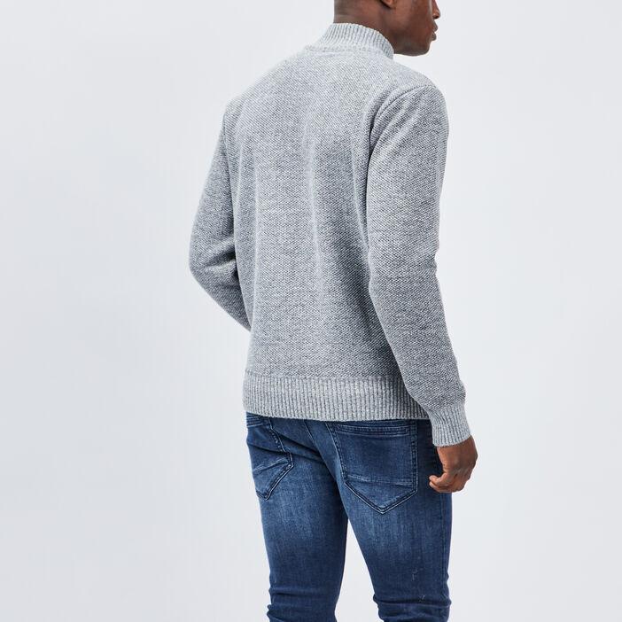 Pull avec col montant zippé homme gris