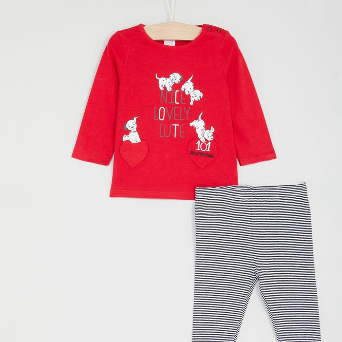 Ensemble 2 pièces 101 Dalmatiens bébé fille rouge