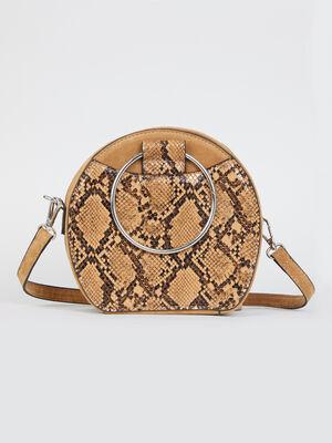Sac tambourin python anses anneaux beige femme