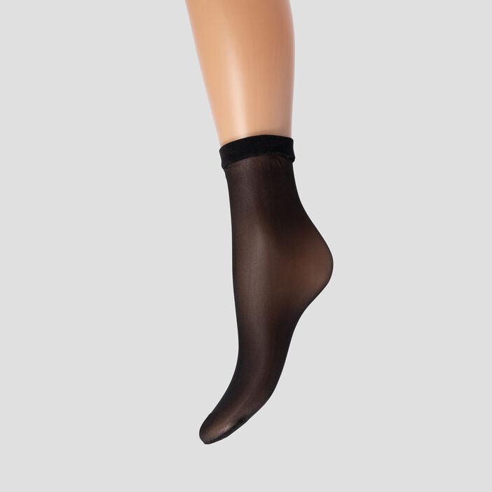 Lot 2 socquettes 15D femme noir