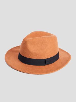 Chapeau fedora orange fonce femme