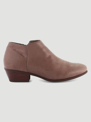 Low boots dessus effet serpent taupe femme