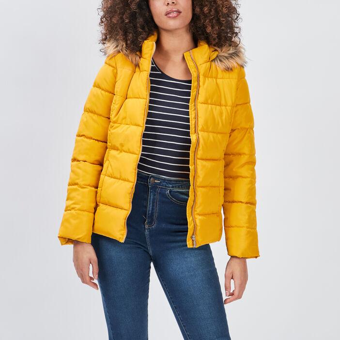 Doudoune cintrée à capuche femme jaune moutarde