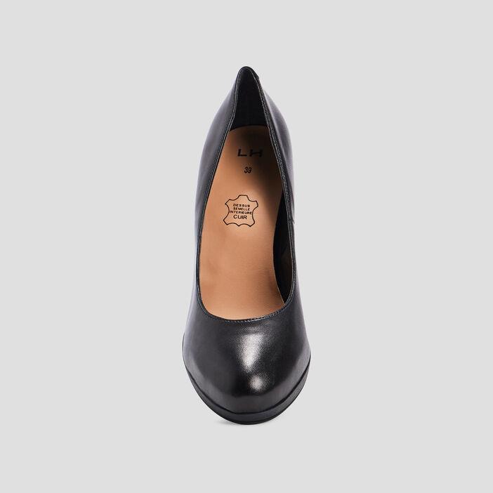 Escarpins à talons en cuir femme noir