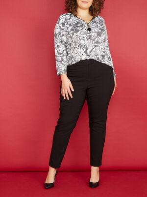 Pantalon droit uni noir femme