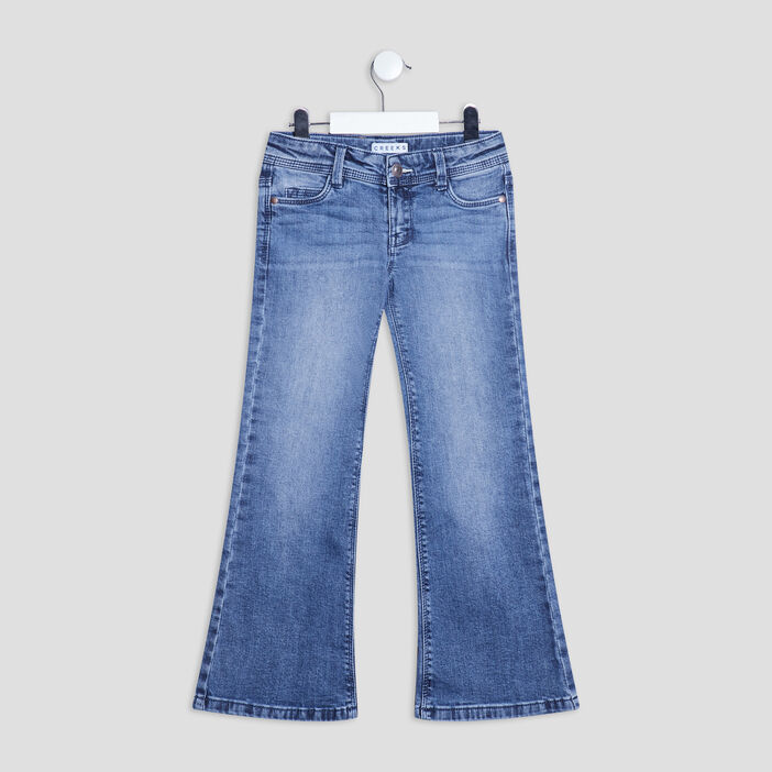 Jeans flare taille ajustable Creeks fille denim double stone