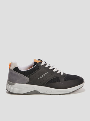 Runnings multi matieres a lacets noir homme