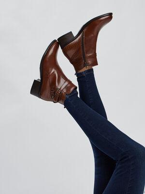 Bottines cuir zippees a boucles marron femme