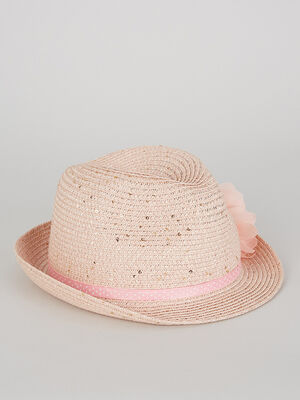 Chapeau ruban et fleurs rose clair fille