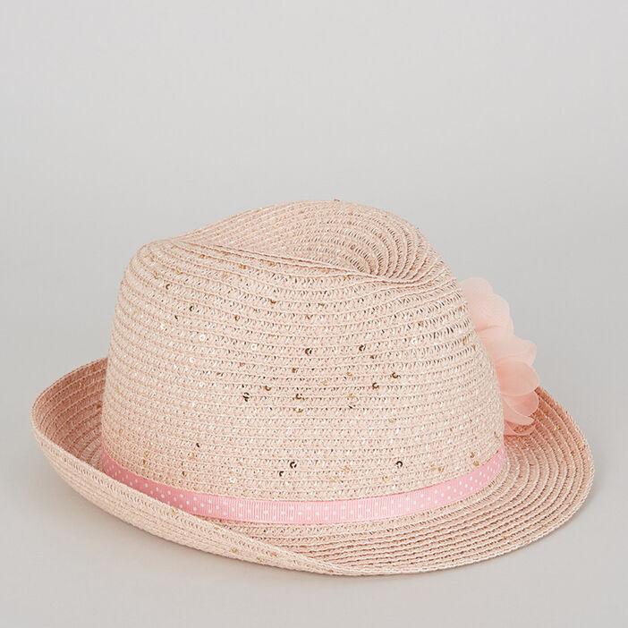 Chapeau ruban et fleurs fille rose clair