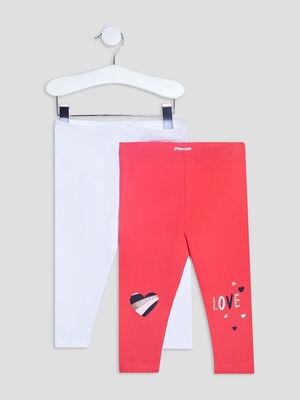 Lot 2 leggings rose fushia bebef