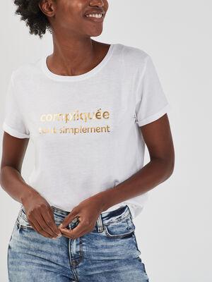 T shirt manches courtes couleur or femme