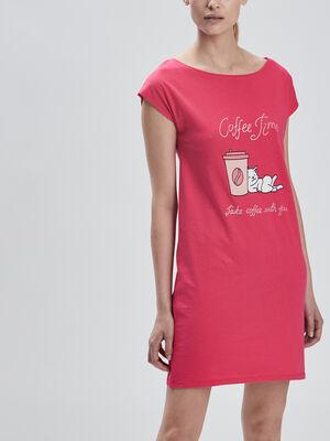 Chemise de nuit droite rose fushia femme