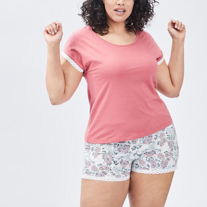 Ensemble pyjama 2 pièces femme grande taille rose