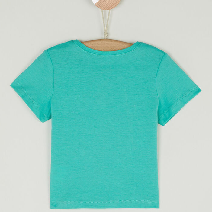 T-shirt col rond message devant bébé garçon bleu turquoise